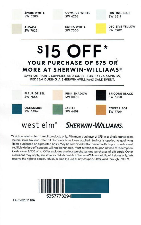 Sherwin-Williams $15 off Your Next Purchase of $75 or More—In-Store Only