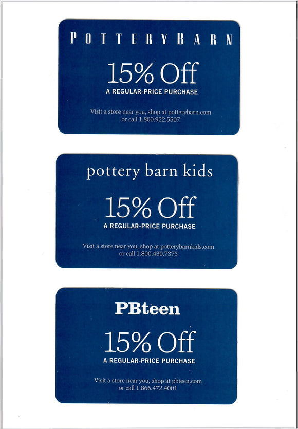 (3x) Pottery Barn, Pottery Barn Kids and Pottery Barn Teen 15% off Entire Purchase