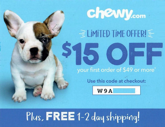 Chewy $15 off Your First Order of $49 or More PLUS Free Shipping—Email Delivery