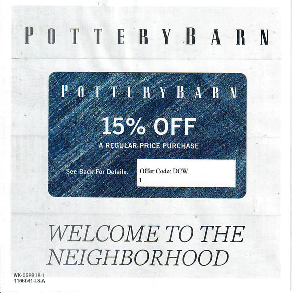Pottery Barn 15% off Entire Purchase—Instant Digital Download