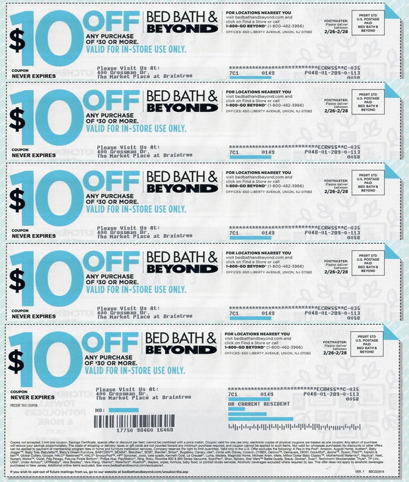 Bed Bath and Beyond $10 off Any Purchase of $30—Sets of 5, 7 or 10