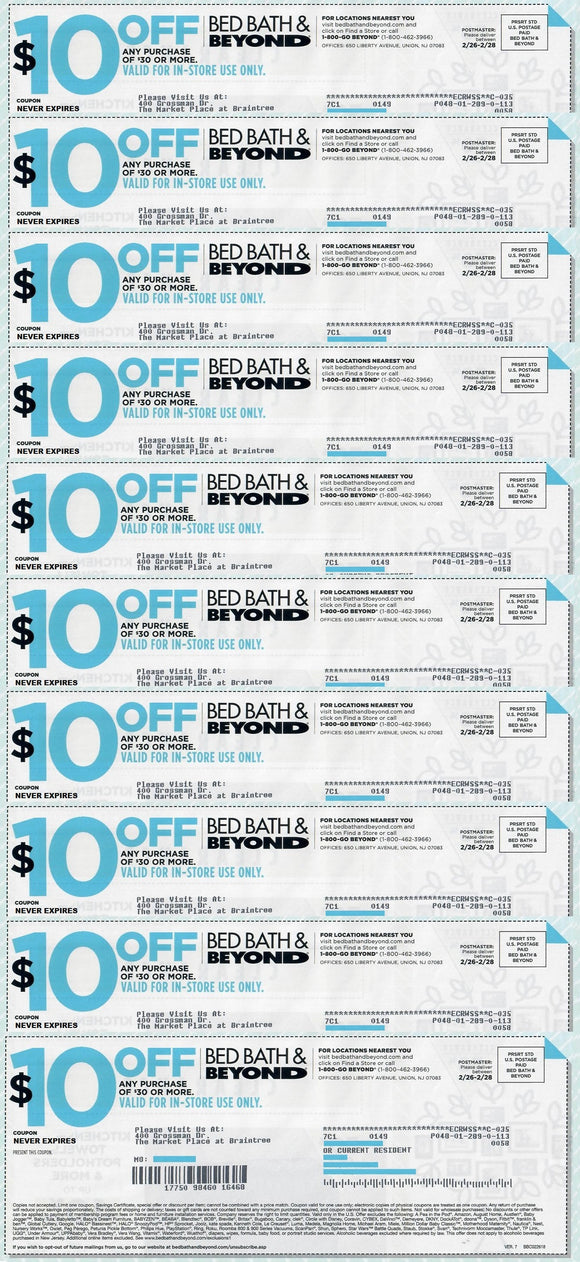 image regarding Big 5 $10 Off $30 Printable named Mattress Bathtub and Over and above $10 off Any Buy of $30Sets of 5, 7 or 10