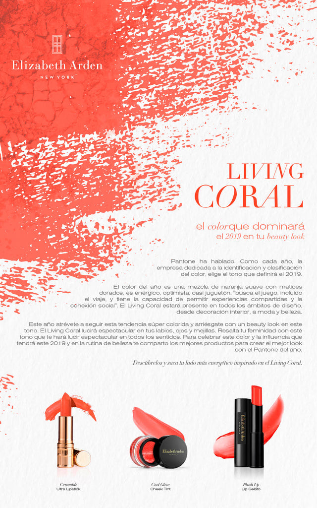 Elizabeth Arden y el Living Coral, el color que dominará el 2019 en tu beauty look