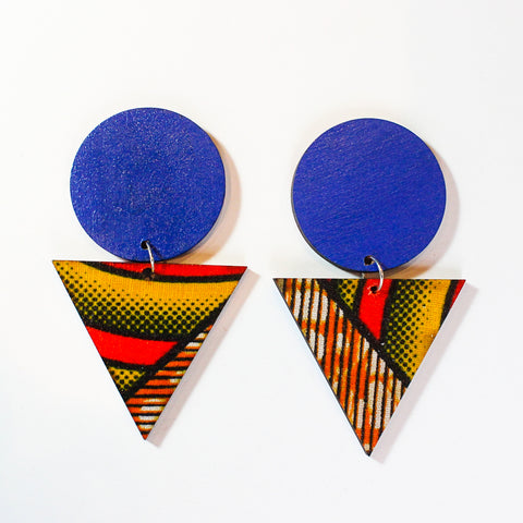 80s Diva - Blue Circle + Red Kente Triangle