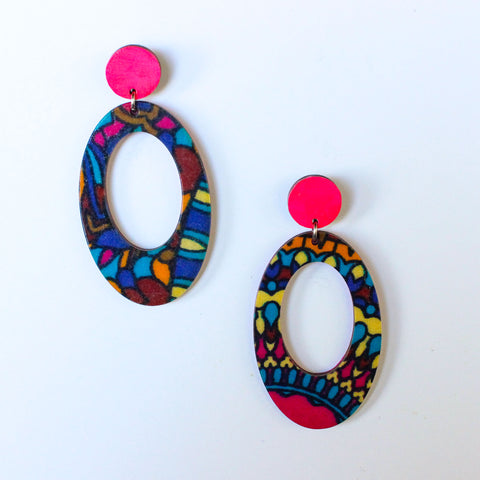 Self Love - African Fabric Hoop Earrings