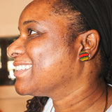 Power - Kente Cloth Wood Stud Earrings
