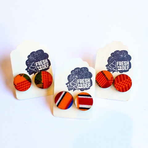 Freedom - Kente Cloth Wood Stud Earrings