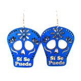 Si Se Puede Skull Blue Earrings (Large)