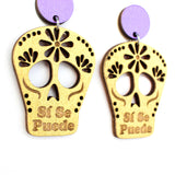 Si Se Puede Skull Gold Earrings (Medium)