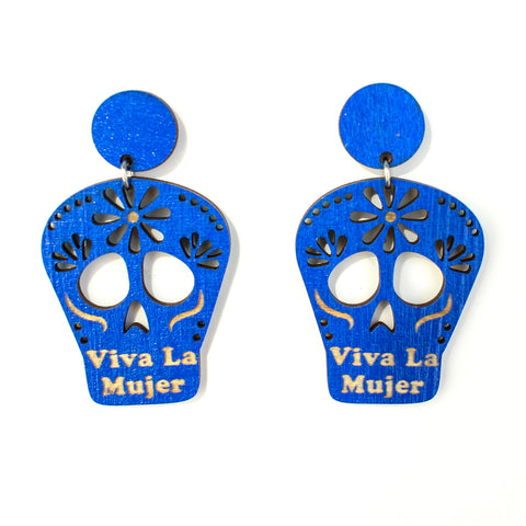 Viva La Mujer Skull Blue Earrings (Medium)