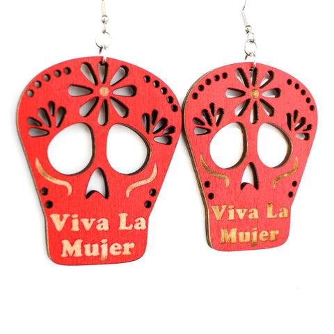Viva La Mujer Skull Red Earrings (Large)