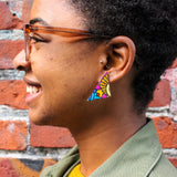 Kente Cloth Triangle Earrings