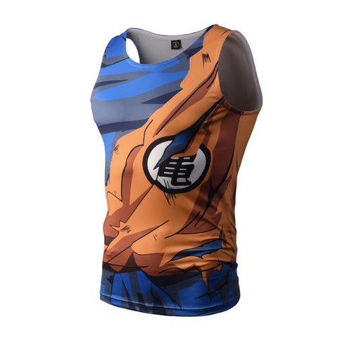 2017 Summer Style Mens Tank Tops 3D Print Anime Dragon Ball Super Saiyan Naruto Bodybuilding Vest Sleeveless Tops Slim Fitness