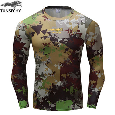 Hot sell New Fashion Brand fitness compressed T-shirt fitness to join 3D long sleeve T-shirt man clothes Wholesale and retail