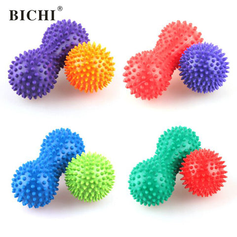 2pcs 7.5cm Peanut Massage Ball Spiky Hedgehog Relief Muscle Leg Pain Stress Pilates Balls Relax Muscle Fitness Exercise Ball