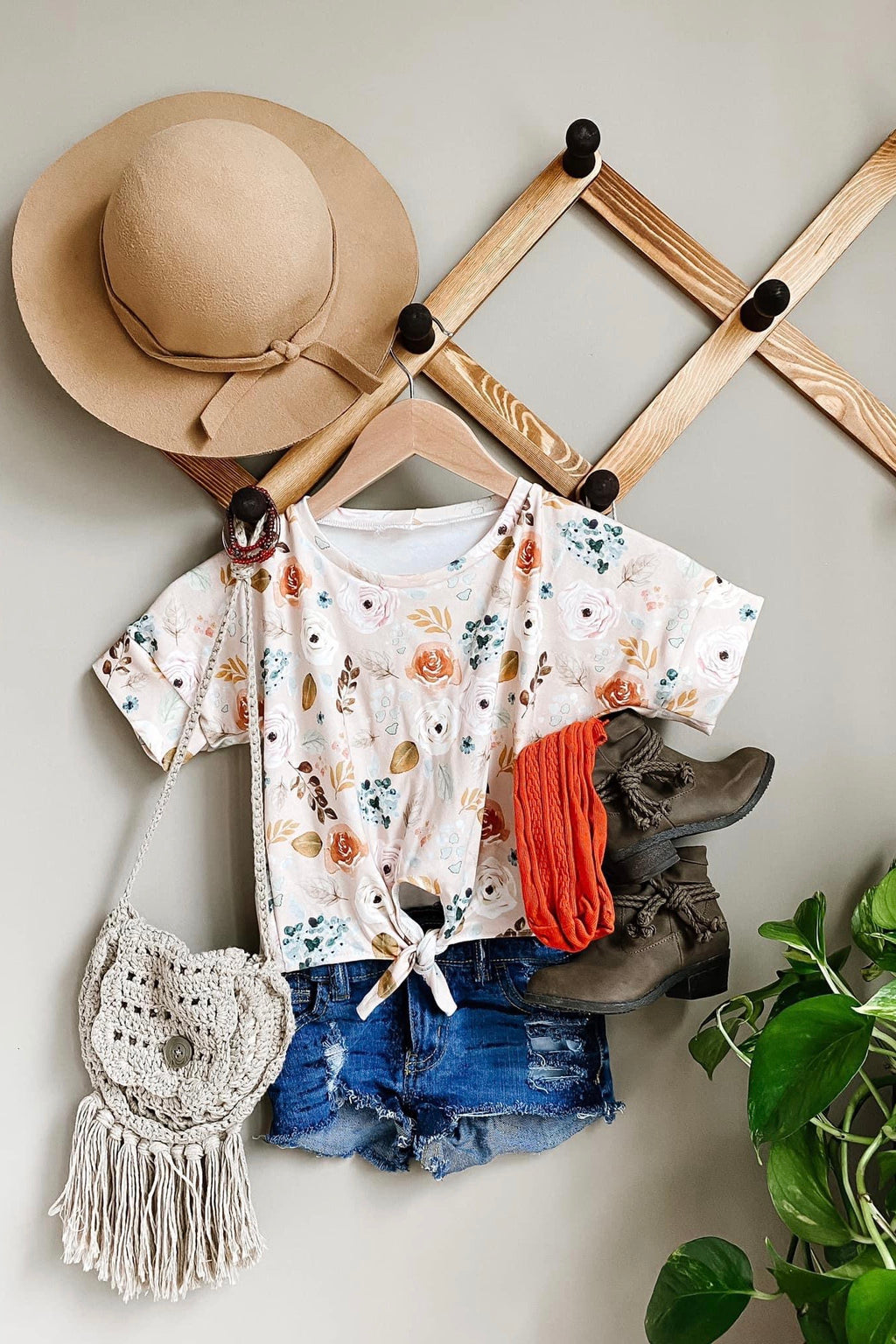 Cream Fall Floral Tie Top
