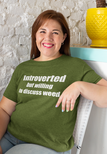 Introverted but willing to discuss weed Tri Blend T shirt - Eveland Boutique