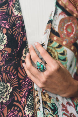 Carry on turquoise teardrop ring- 504 fall