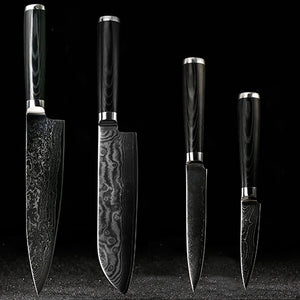 "Damascus Steel 8"" Chef, 7.5"" Santoku, 5"" Utility, & 3.5"" Paring Combo"