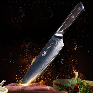 "Damascus Steel 8"" Chef knife - 67 layers with Ebony Wood Handle"
