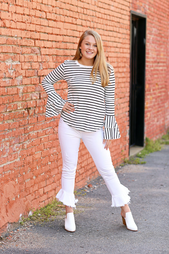 Black Stripe Long Sleeve w/ Flared Tiered Wrist - McClain & Co.