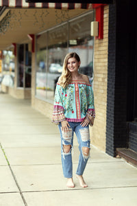 Mint Floral Off The Shoulder Bell Sleeve Top