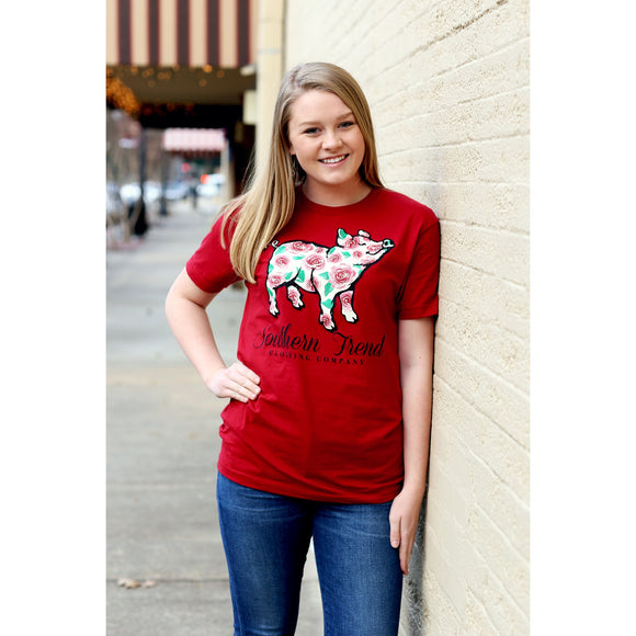 Red Rose Pig Short Sleeve Tee - McClain & Co.