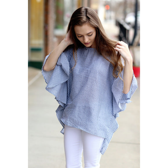 Light Blue Striped Seersucker Ruffle Dolman Sleeve Top
