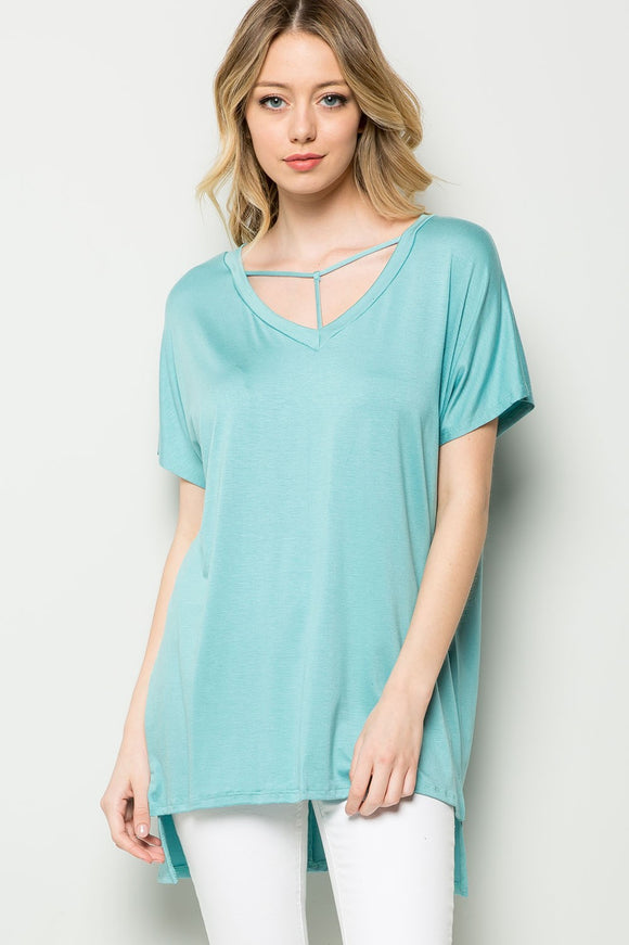 Strappy Front Short Sleeve Top