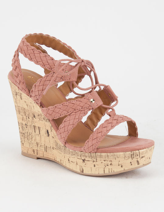 Mauve Braided Suede Sandal Wedge