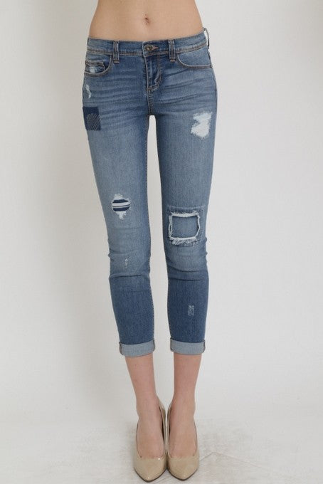 Cuffed Distressed Patch Denim
