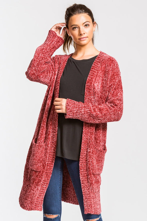 Chenille Knee Length Open Front Cardigan