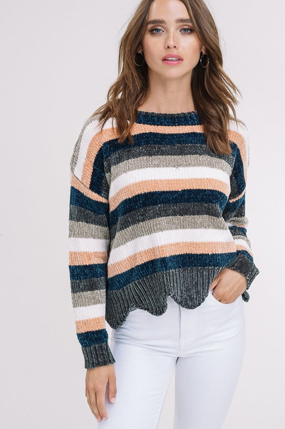 Striped Chenille Scallop Hem Pullover Sweater