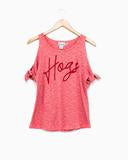 Hogs Script Cold Shoulder Top
