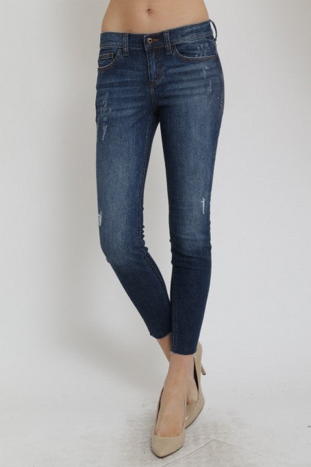 Slightly Distressed Dark Denim