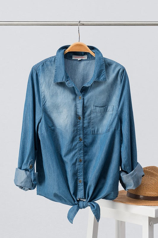 Denim Rolled Sleeve Front Tie Button Down Top