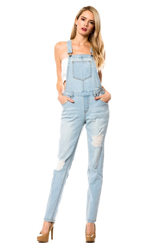 Light Wash Denim Overalls