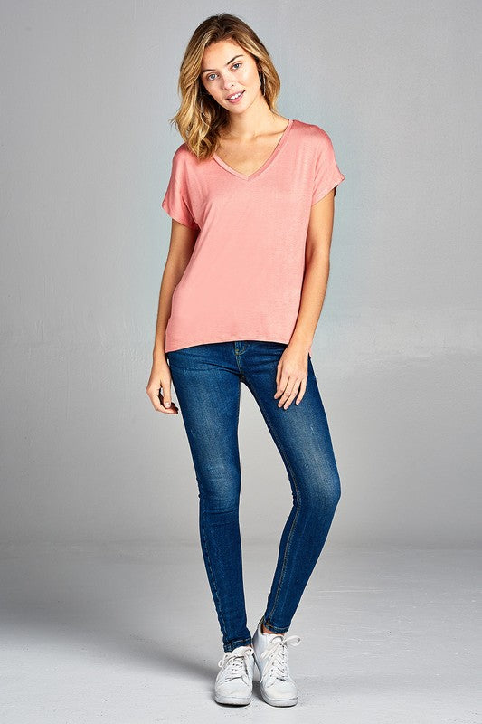 Dolman Short Sleeve V-Neck Top