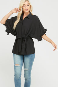 Ruffled Sleeve Drawstring Button Down Blouse
