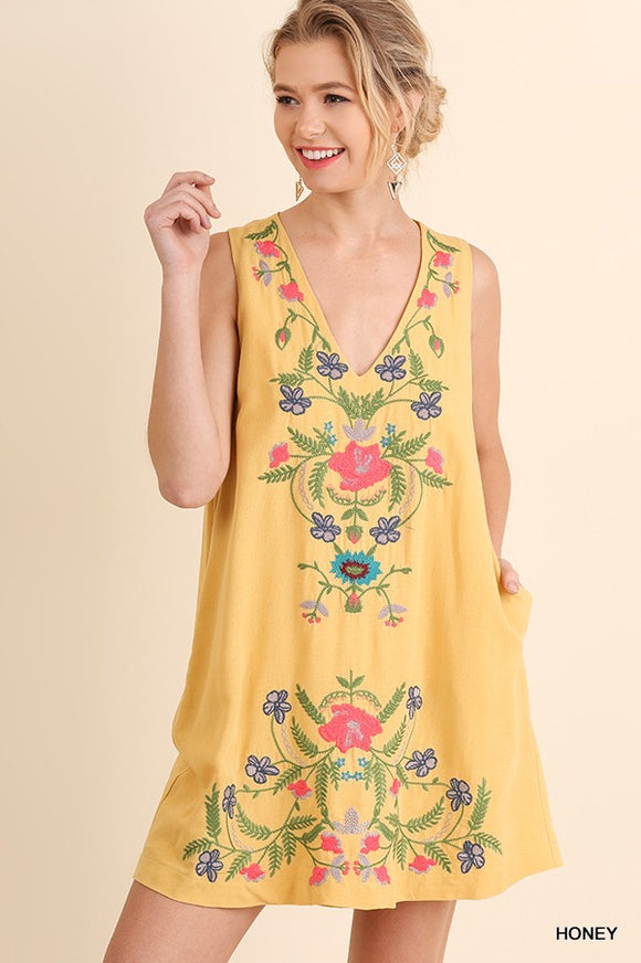 Floral Embroidered V Neck Pocket Dress