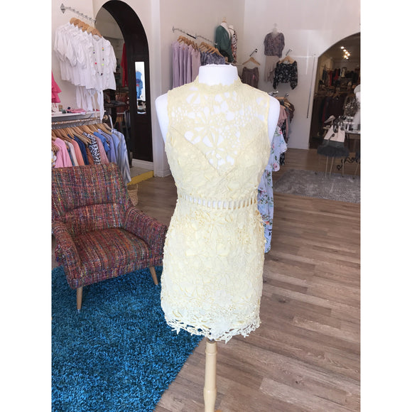 Yellow Lace Zip Back Dress