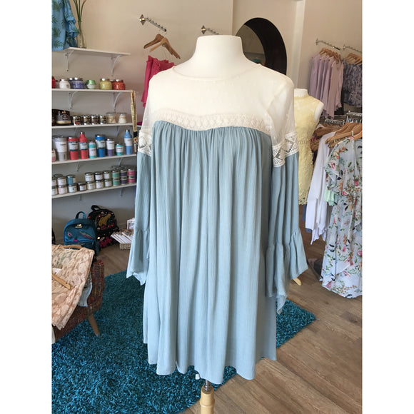 Dusty Mint Bell Sleeve Sheer Top Baby Doll Dress
