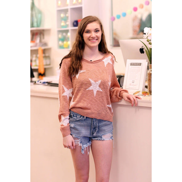 Star Print V Neck Sweater