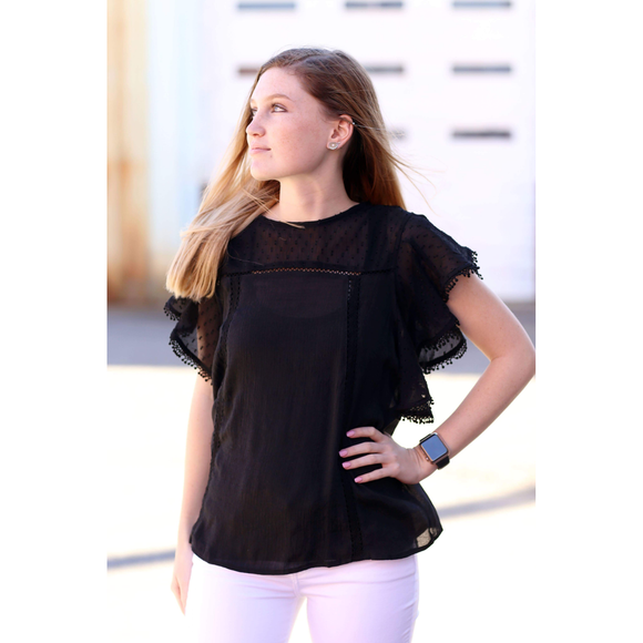 Black Chiffon Top w/ Sheer Flair Short Sleeve - McClain & Co.