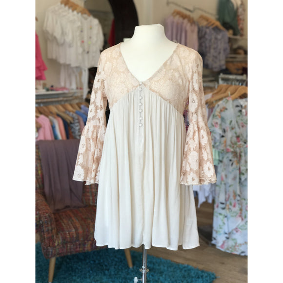 Peach & Cream Babydoll Dress w/ Lace Detail