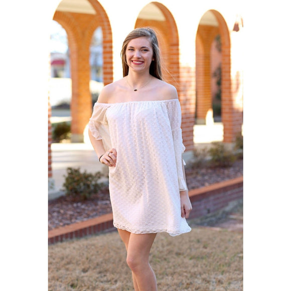 Cream Off the Shoulder Polka Dot Lace Dress