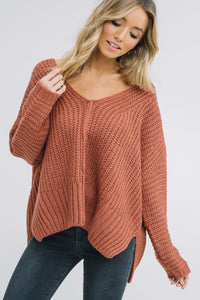 Knit V Neck Pullover Sweater