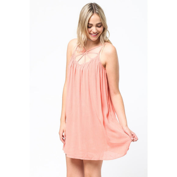 Sleeveless O-Ring Neck Detail Dress
