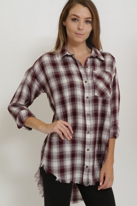 Plaid Fringe Hem Top
