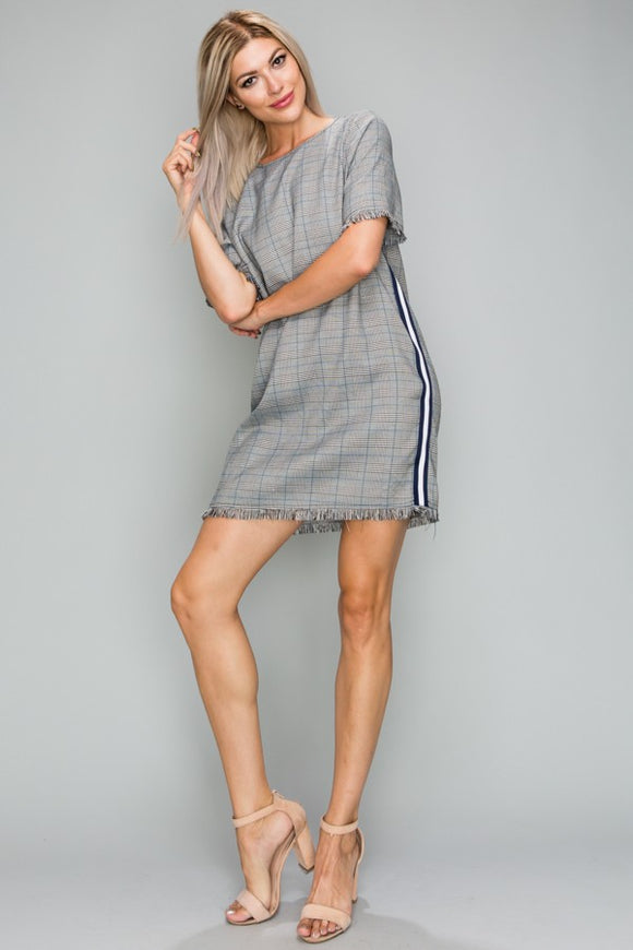 Plaid Unfinished Hem Racer Stripe Shift Dress